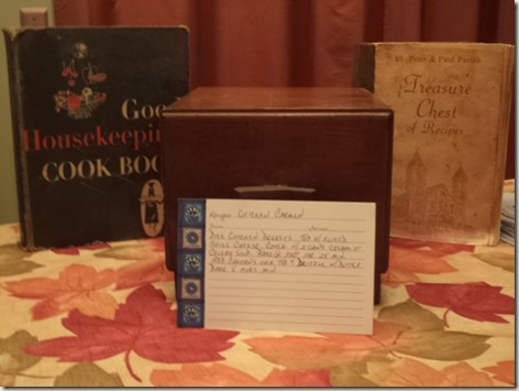 Mom's Recipe Box and a couple of her old cookbooks.